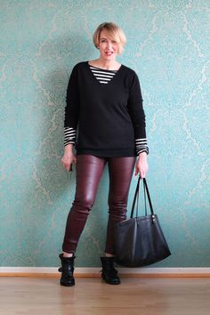 A fashion blog for women over 40 and mature women  sweater: Neyo-Fashion Shirt: & other Stories Leather-Leggings: Helmut Lang Booties: Fiorentini  Baker Bag: Chloé