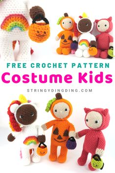 Halloween Costume Kids Amigurumi – Free Crochet Pattern – StringyDingDing Get ready for Halloween by making some adorable costume kids with this free crochet pattern! Crochet Fall, Holiday Crochet, Crochet For Kids, Free Crochet, Halloween Crochet Patterns, Crochet Patterns Amigurumi, Amigurumi Toys, Crochet Crafts, Crochet Projects