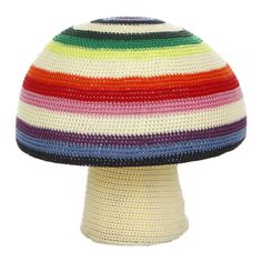 Discover+the+Anne-Claire+Petit+Mix+Stripe+Mushroom+Crochet+Pouf+-+40+x+34cm+at+Amara