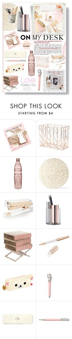 """On my Desk"" by lillyluvs ❤ liked on Polyvore featuring interior, interiors, interior design, home, home decor, interior decorating, U Brands, Baci, Deborah Rhodes and Kate Spade"