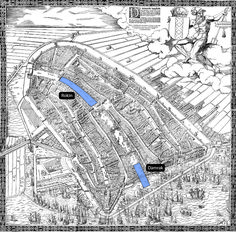 Damrak and Rokin projected on the map by Cornelis Anthonisz uit 1544 (Stadsarchief Amsterdam: 010001001032)