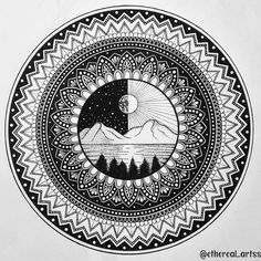 Nature is the art of god. Cute Doodle Art, Doodle Art Designs, Doodle Art Drawing, Cool Art Drawings, Pencil Art Drawings, Art Drawings Sketches, Easy Mandala Drawing, Mandala Art Lesson, Mandala Doodle