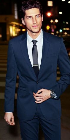 Full suit: Navy suit and velvet black tie with pin