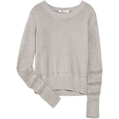 T by Alexander Wang Knittted cotton sweater ($90) ❤ liked on Polyvore featuring tops, sweaters, shirts, jumpers, grey, pointelle sweater, grey jumper, grey shirt, gray sweater and grey top