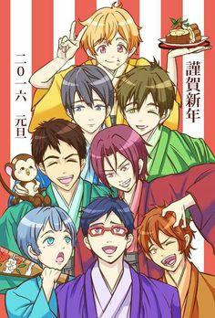 Rin Matsuoka, Sosuke Yamazaki, Momotarou Mikoshiba, Nitori Aiichirou, Makoto Tachibana, Haruka Nanase, Nagisa Hazuki, Rei Ryugazaki,
