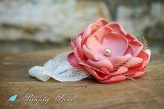 Vintage Inspired Coral Flower Headband by joellegfritz on Etsy, $11.50