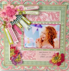 Love this layout ~ © Anna Griffin, Inc. All Occasion Garlands Kids Scrapbook, Vintage Scrapbook, Wedding Scrapbook, Scrapbook Supplies, Scrapbook Cards, Anna Griffin Inc, Anna Griffin Cards, Scrapbook Sketches, Scrapbook Page Layouts