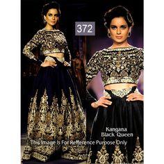 Kangana Black Queen Net Moss Velvet Bollywood Dress
