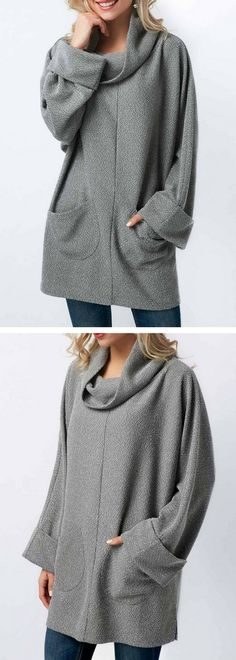 Long Sleeve Pocket Grey Cowl Neck Blouse