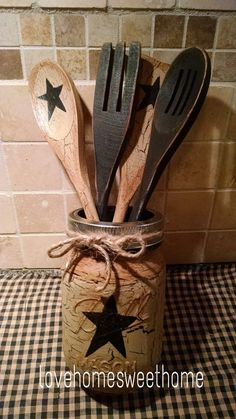 Primitive Crackle Tan /& Brown Star Wood Spoon//Utensils Set of 4 Country Decor