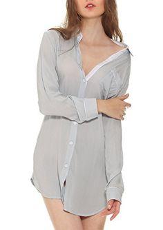 Yulee Women's Long Sleeve Button Down Night Shirt Boyfrie...