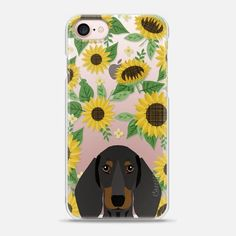 Dachshund black and tan dog breed clear case transparent sunflower florals summer cell case iphone dog breed pet art - Snap Case