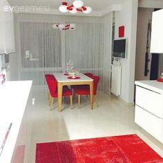 Mutfak, Aydınlatma, Halı, Kırmızı, Yemek masası, Beyaz mutfak