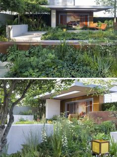 jardin design avec abri en bois massif, salon extérieur assorti et ...