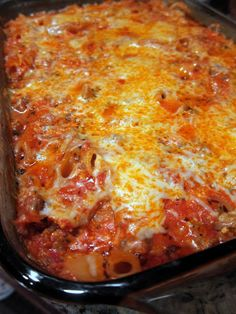 No Boil Baked Penne - dump everything in the pan (including dry pasta) and it is ready to eat in an hour #pasta #food