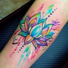 Resultado de imagen de watercolor lotus tattoo