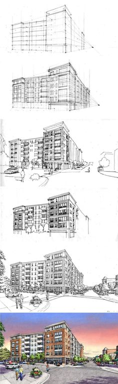 1-point city drawing | perspective | Pinterest | Coloring ...