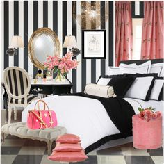 Girly bedroom. Black and white striped with touches of pink.
