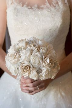 Wedding bouquet winter wonderland style brooch and flower bouquet white, pearls and diamante finished with ivory organza made to order