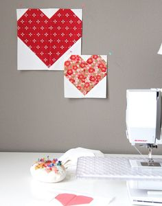 Sewing Heart Blocks -- multiple size options by Cluck Cluck Sew