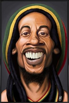 Digital Art - Celebrity Sunday - Bob Marley by Rob Snow , Dope Cartoons, Dope Cartoon Art, Cartoon Faces, Funny Faces, Bob Marley Kunst, Bob Marley Art, Funny Caricatures, Celebrity Caricatures, Art Rasta