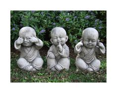Wise Monks set. This charming trio of little Monk children is playfully displaying classic see no evil, speak no evil, hear no evil poses.