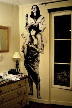 Encre de chine sur kraft blanc sur mur d'appartement Studios D'art, Grafitti Street, World Street, Land Art, Street Artists, Art Plastique, Urban Art, Collage Art, Illustration