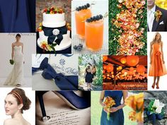 Navy and orange wedding theme....although more of a midnight blue color. If we decide to incorporate the use of leaves for fall, they'd go well as the orange accent.