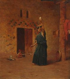 look carefully at the spindle - it's double whorled. ORIENTALIST SCHOOL. (19th century). WOMAN SPINNING FLAX WITH CHILD IN BACKGROUND, oil on canvas.