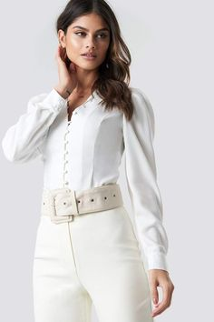e738b8d44b2c Front Button Puffy Sleeve Blouse