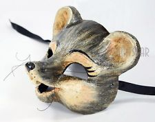 AUTHENTIC Venetian Mask MADE IN ITALY Gray Mouse Animal Costume Home Wall Decor Kids Room Circus Theme