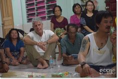 Bourdain (in white shirt) was seen shooting for an episode of CNN's Parts Unknown at Rumah Entalau.
