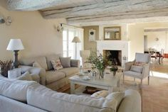 Soothing white lounge room love so much about this space Cozy Living Rooms, Home Living, My Living Room, Living Spaces, Interior Exterior, Home Interior, Interior Design, Painted Beams, Country Interior