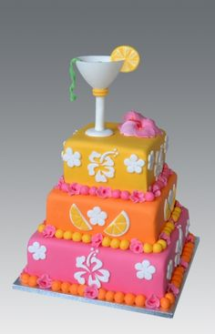 Vibrant & Colourful! #Tropical / #Cocktail themed #Pink #Orange #Yellow & #White #Cake with #Flowers - Looking beautiful! We love and had to share!