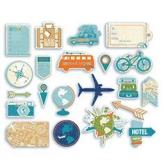 Formes découpées Globe trotter - Décorez un journal de bord ou un carnet de voyage, avec cet assortiment de 21 formes découpées (Die-cuts ou chipboards) imprimées sur le thème…Voir la présentation