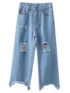 Blue Pockets Ripped Denim Wide Leg Pants