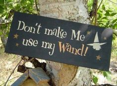 "Witchy sign ""Don't make me use my wand!"""
