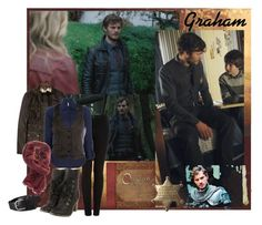 """""""Sheriff Graham - The Heart is a Lonely Hunter"""" by tiffycuss ❤ liked on Polyvore featuring Once Upon a Time, Belstaff, J Brand, Armani Jeans, Faliero Sarti, FOSSIL, skinny pants, skinny jeans, time and lonely"""
