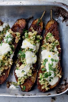 Chermoula Eggplant With Bulgur and Yogurt by Yotam Ottolenghi and Sami Tamimi via nytimes: Chermoula is a mixture of spices used in North African cooking, often to season fish. Here it's rubbed over eggplant, which is then roasted and topped with a Middle Eastern salad of bulgur wheat and herbs, something like tabbouleh. #Eggplant #Healthy