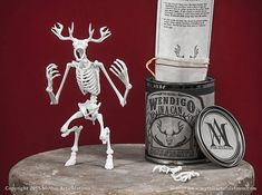This is a digitally sculpted, 3D printed and highly articulated Wendigo skeleton. In a can! The model consists of 20 parts, with 19 points of