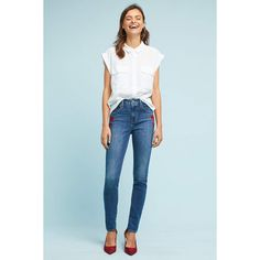 Levi's 721 High-Rise Skinny Jeans ($128) ❤ liked on Polyvore featuring jeans, denim dark, blue jeans, blue skinny jeans, high rise skinny jeans, super skinny jeans and levi jeans