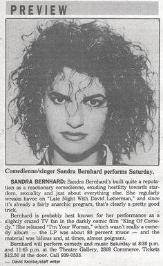 Sandra Bernhard at Theatre Gallery in the Dallas Times Herald Sandra Bernhard, Im Mad, Newspaper, Shit Happens, Dallas, Theatre, Calendar, Times, Gallery