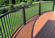 Curved aluminum deck railing from Kidron Vinyl Aluminum Deck Railing, Deck Railings, Fisher, Fence, Outdoor Decor, House, Home, Deck Balusters, Homes