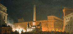 Ippolito Caffi, Bénédiction du Pape Pie IX, du Quirinale de nuit