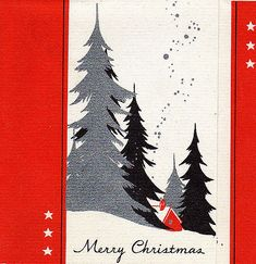 Art Deco Wintery Forest Christmas Card ~ in Reds, Grey &. Christmas Hanukkah, Christmas Past, Christmas Themes, Christmas Crafts, Christmas Stuff, Christmas Decorations, Vintage Christmas Images, Retro Christmas, Vintage Holiday