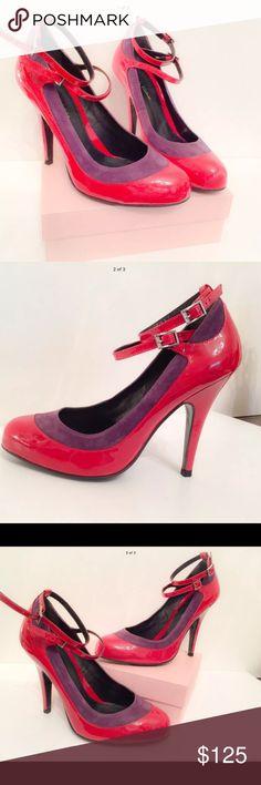 """Pour La Victoire Red Patent Pumps Size 7.5 Pour La Victoire Red Patent Heels with purple Suede strap. Two Ankle Straps. Size 7.5. Heel Height 4.5"""" Pour la Victoire Shoes Heels"""