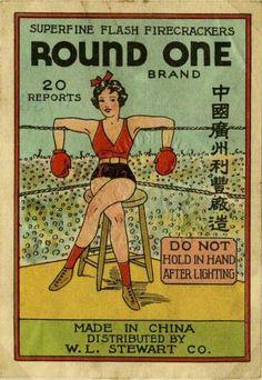 Firecracker Label. Round One brand. China.