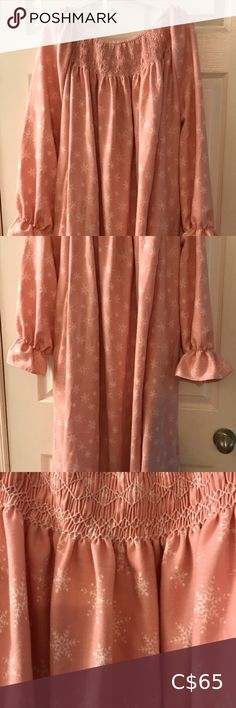 """Hand Smocked Cotton Flannel Gown Cozy cotton flannel gown with pockets. Hand smocked. Full length (50"""" long). One size fits all (82"""" wide at hip). Great for lounging or sleeping. Intimates & Sleepwear La Senza Bras, Cotton Gowns, Silk Gown, Knitted Shawls, Blue Lace, Bra Tops, One Size Fits All, Smocking, Flannel"""