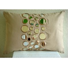 Decorative Oblong / Lumbar Throw Pillow Covers Accent Pillow Couch 12x16 Beige Cotton Canvas Pillow Cover Mirror Embroidery Mirror Light  ________________________________________________________________________________    Pillow Cover is made with Beige color Cotton Canvas Fabric embroidered with mirrors of different sizes to create a beautiful light reflections in your room. This design is contemporary and will dazzle your home with light reflections created by the mirror.    The back of…