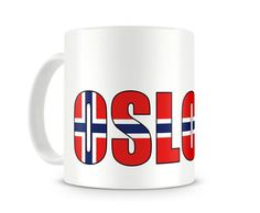 Tasse mit Oslo Schriftzug. Eine Tasse bedruckt mit dem Schriftzug Oslo